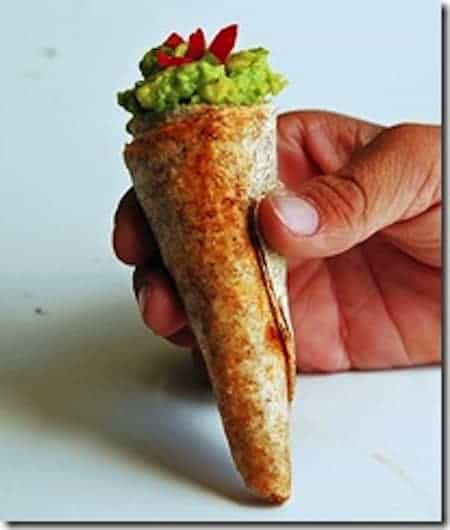 24 Things To Make With Tortillas: Guacamole Ice Cream Cone