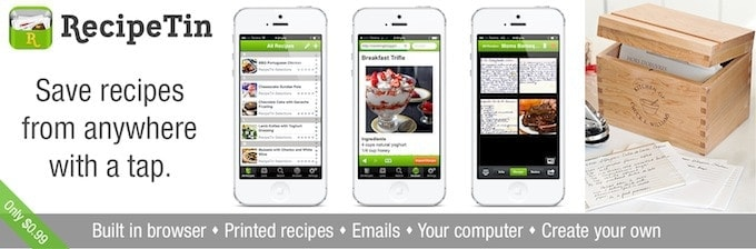 Save recipes from anywhere in your iPhone and iPad with RecipeTin!