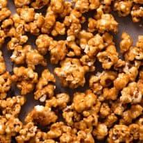 Close up of Caramel Popcorn on a tray