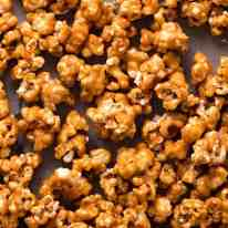 Close up of Caramel Popcorn on a tray