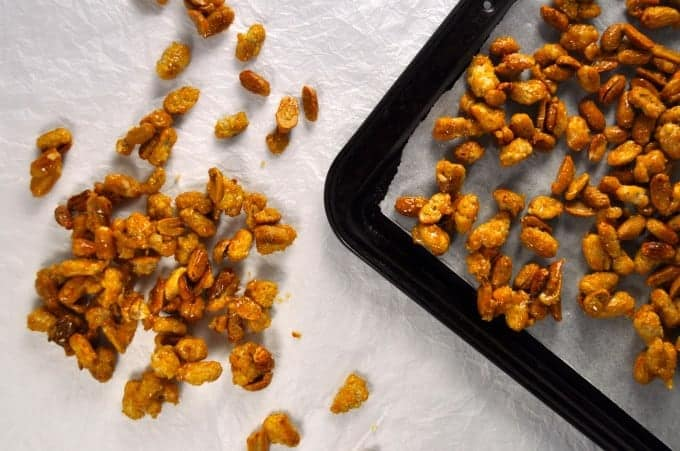 Candied Peanuts - just like from the street carts in NYC! 4 ingredients, 15 min and super easy.