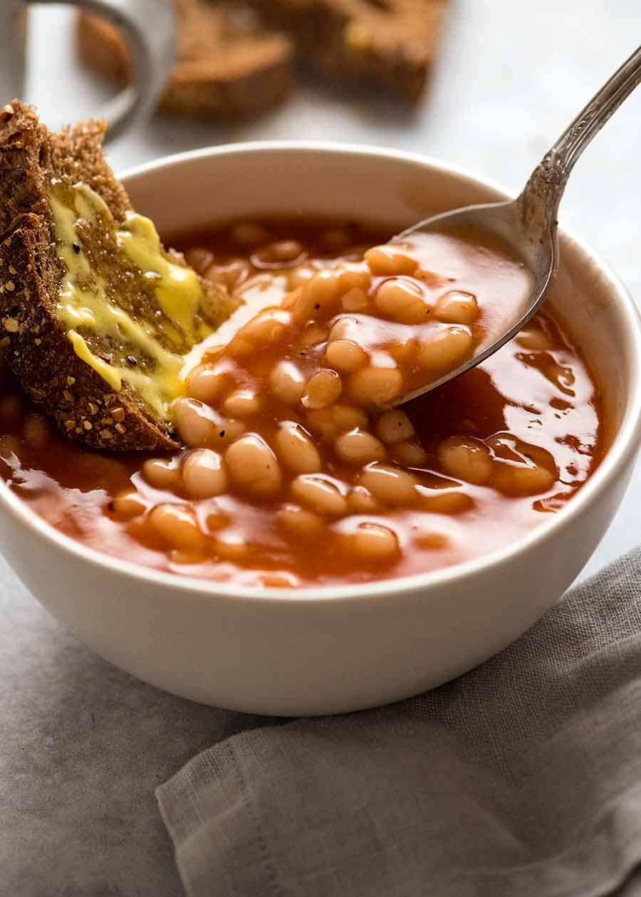 Bowl of homemade Heinz baked beans
