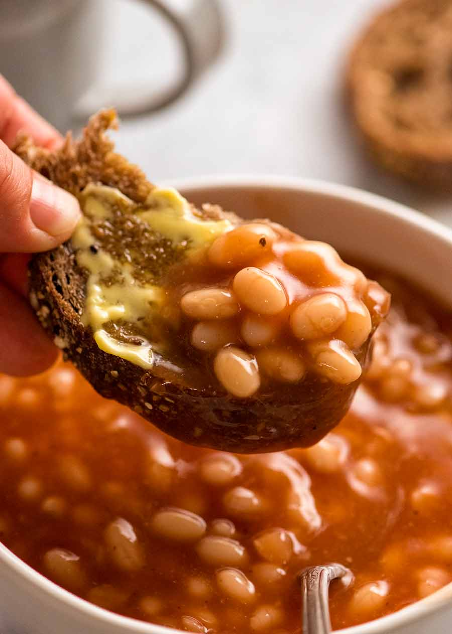 Close up of bread with homemade Heinz baked beans