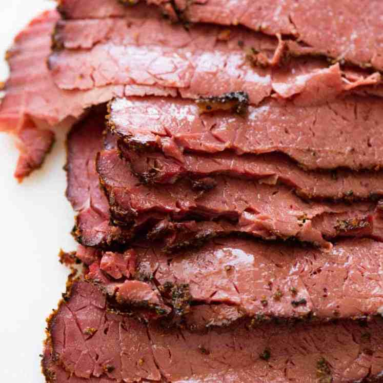 Slices of homemade pastrami