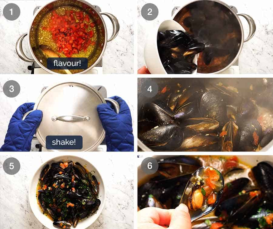 How to cook mussels - Steamed Mussels in Garlic White Wine Sauce