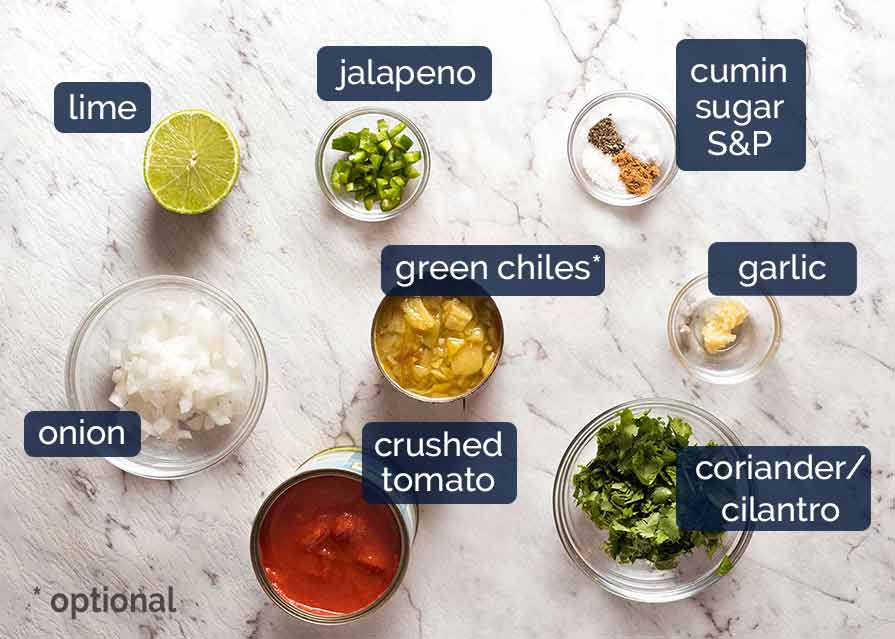 Ingredients in salsa