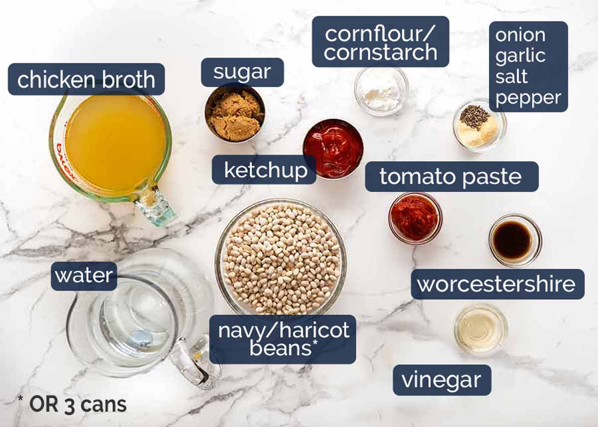 Ingredients in homemade Heinz Baked Beans