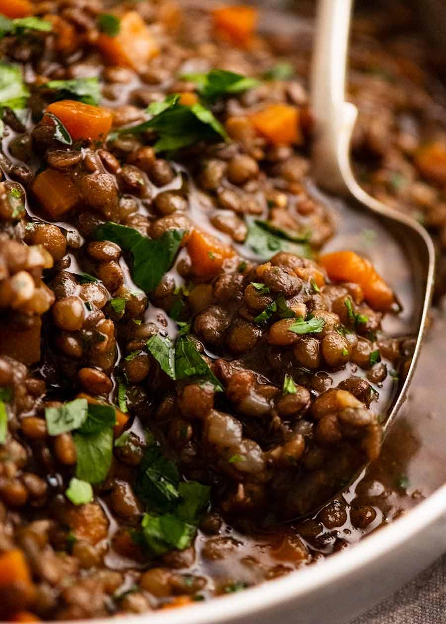 Close up of Lentil Ragout - French lentil side dish