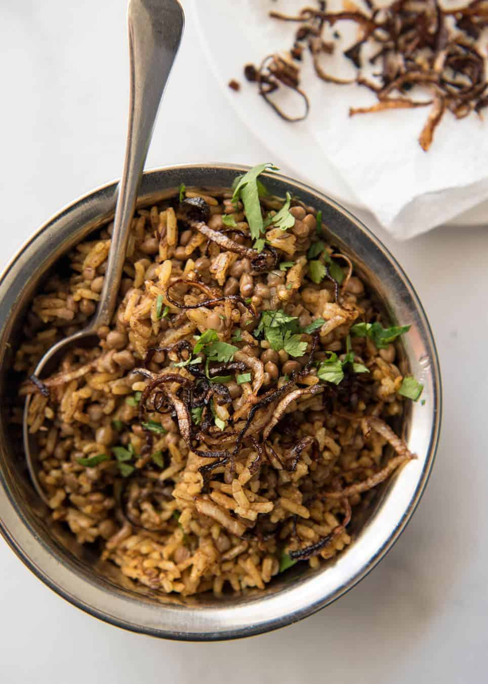 Mejadra - A aromatic Middle Eastern Rice and Lentil Pilaf. A recipe by Yotam Ottolenghi. recipetineats.com