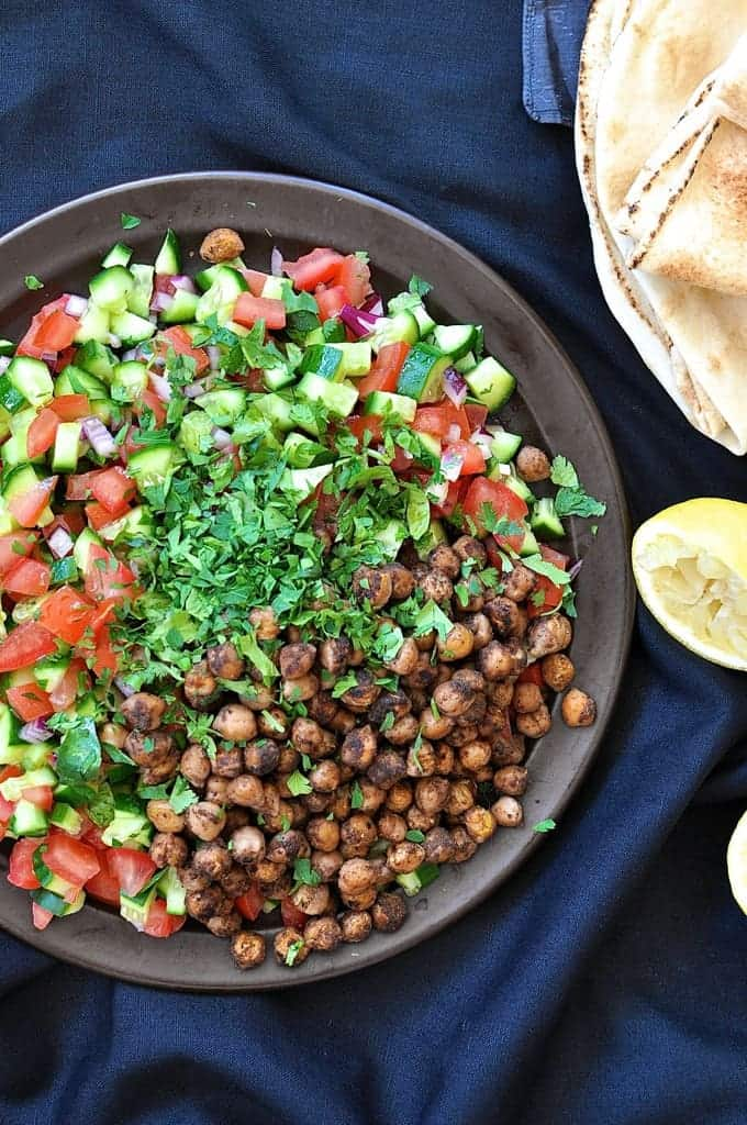 "Middle Eastern Spiced Chickpea Salad - inspired by a Yotam Ottolenghi recipe from his popular ""Jerusalem"" cookbook. 15 min prep."