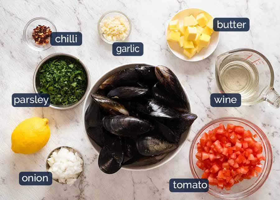 Ingredients in Mussels in Garlic White Wine ingredients