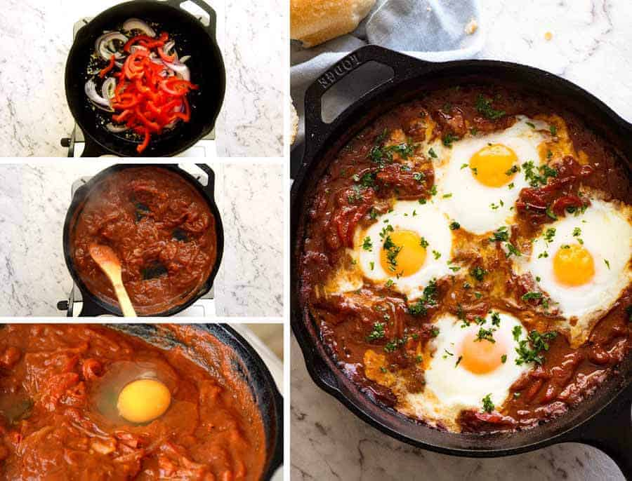 Preparation of Shakshuka, Middle Eastern baked eggs