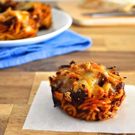 Muffin Tin Spaghetti Nests Using Leftover Pasta - neat idea to use up leftover pasta, kids love 'em and you can freeze the too!