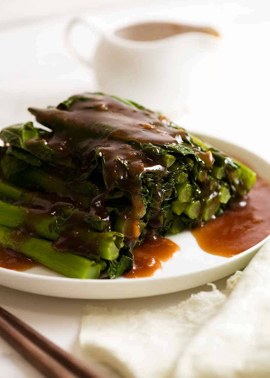 Steamed Chinese Broccoli drizzled with Oyster Sauce, ready to be served