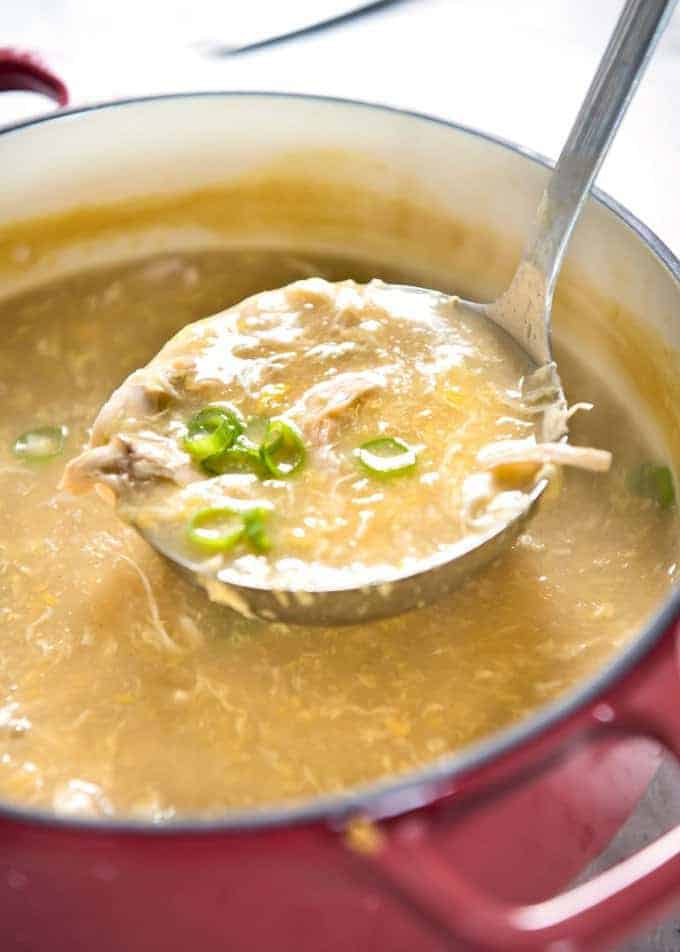 This Chinese Corn Soup with Chicken takes just 15 minutes to make - with no chopping! It's just like what you get at Chinese restaurants! recipetineats.com