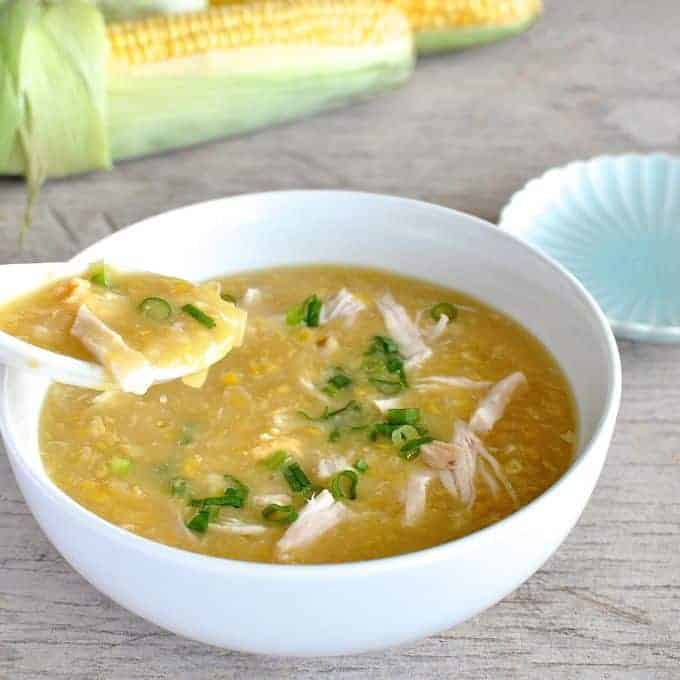Bowl of Chinese Chicken and Corn Soup