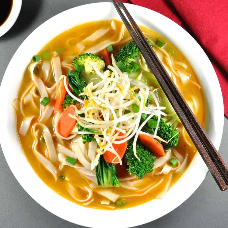 Vegetarian Dan Dan Noodle Soup - on the table in 15 minutes, it's a flavour explosion in a bowl. I want the soup stock on tap!