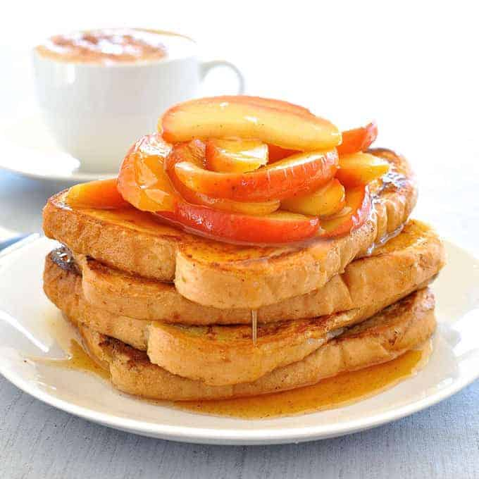 This pile of french toast topped with glorious blushing apples dripping in syrup is on the table in 15 minutes.