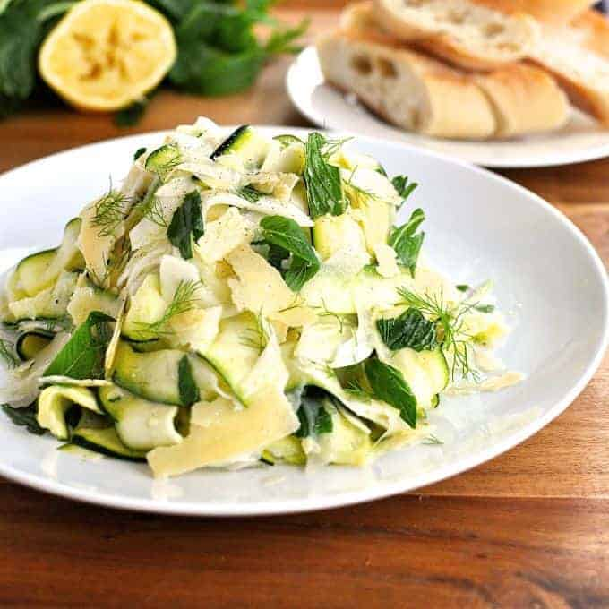 A unique, refreshing salad that even those that aren't huge fans of zucchini or fennel love! Made with everyday ingredients - especially love the ribbons of zucchini (using a potato peeler!)