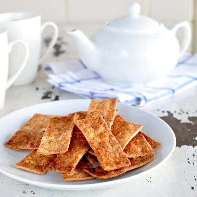 Cinnamon Sugar Tortilla Crisps - a treat in a flash, made using tortilla wraps!