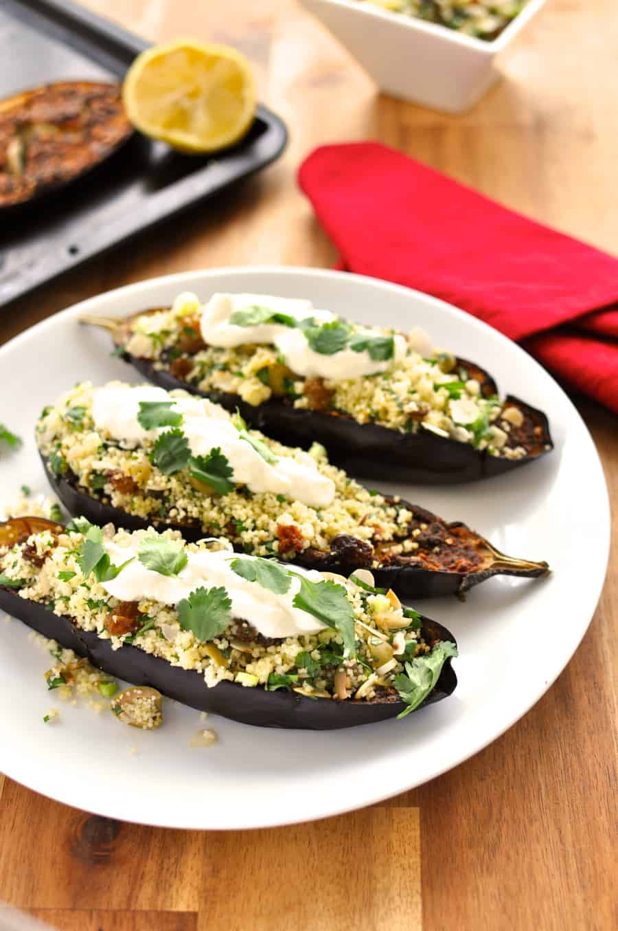 Middle Easter Roasted Eggplant with Couscous - 15 min prep for this fragrant, melt-in-your-mouth aubergine with fresh couscous.