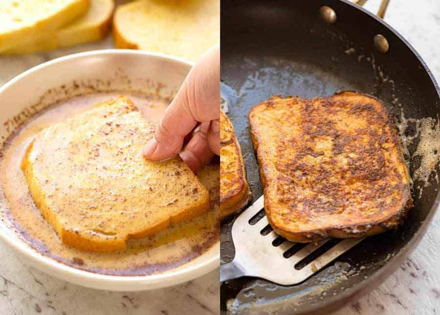 How to make French Toast: 2 eggs, 1/2 cup of milk, 1 tsp vanilla and cinnamon. Dunk bread in, pan fry in butter!