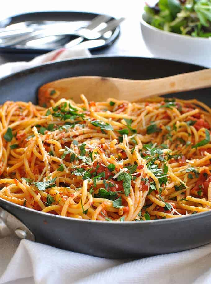 Spicy Pasta Arrabbiata: 8 Classic Simple Authentic Pasta Recipes. Pantry favourites on the table in 15 minutes or less.