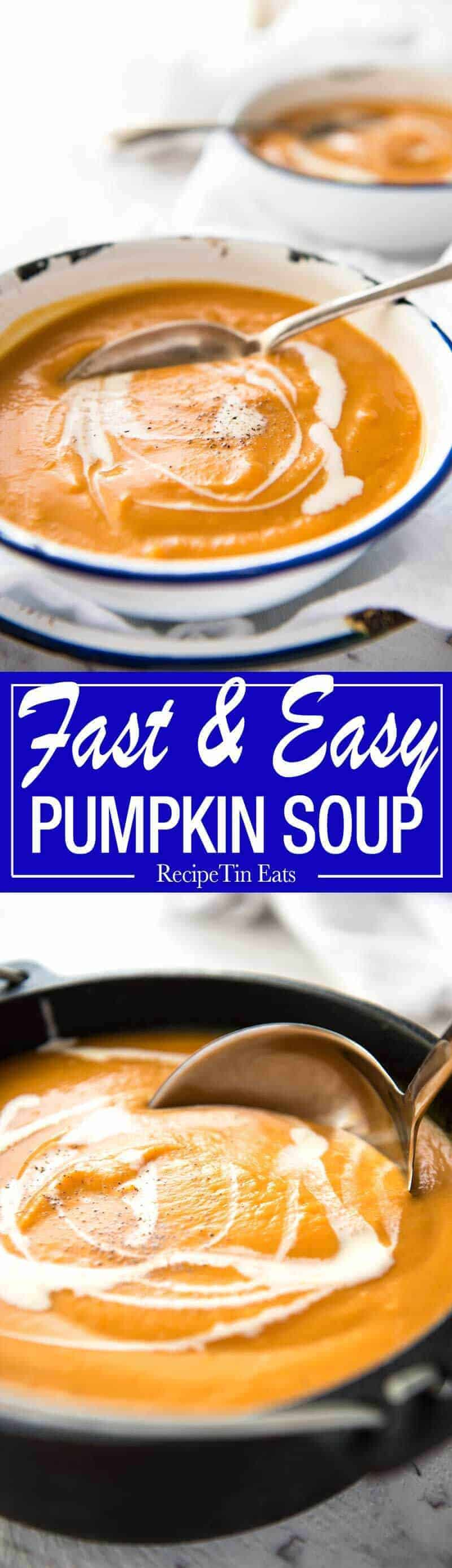 Classic Easy Pumpkin Soup - On the table in 15 minutes! Made with fresh pumpkin or butternut squash www.recipetineats.com