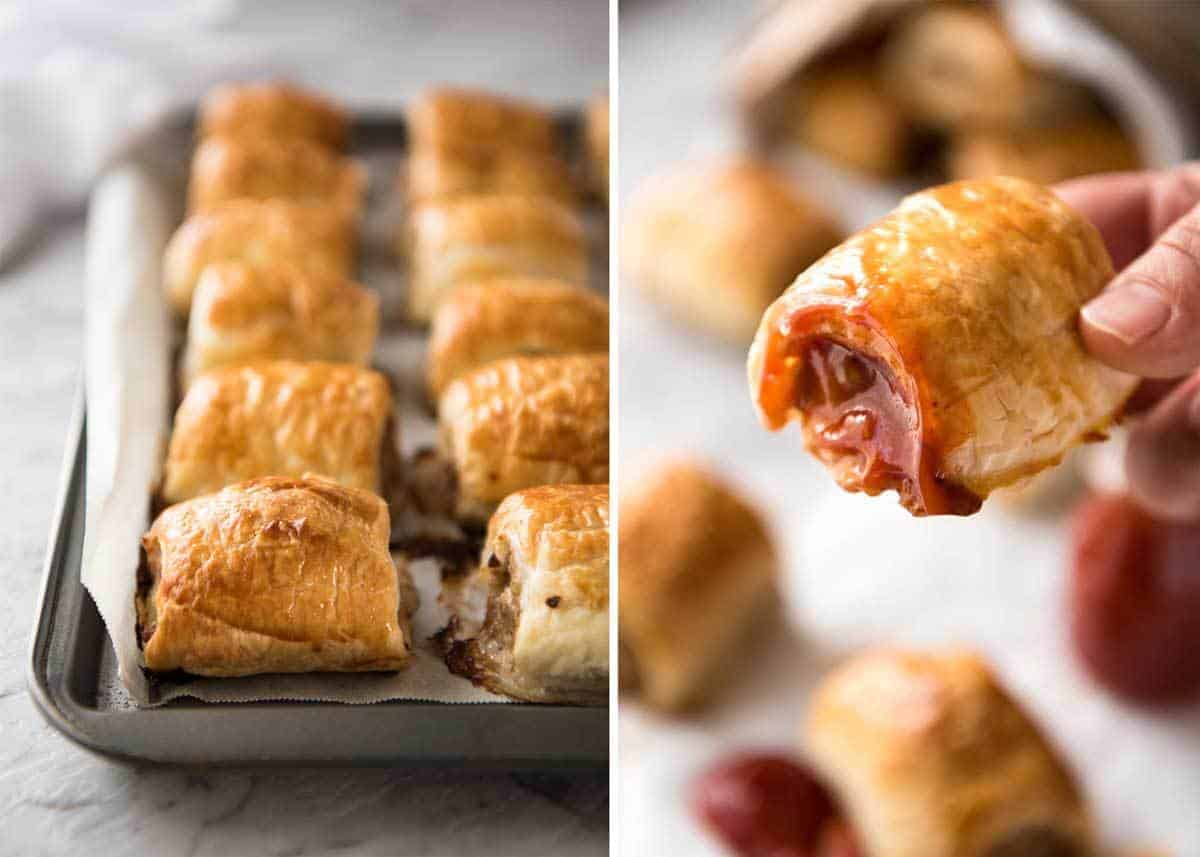 The BEST Homemade Sausage Rolls recipe! Easy to make, a homemade pork mince filling wrapped in puff pastry. Truly as good as what you get from gourmet bakeries!! www.recipetineats.com
