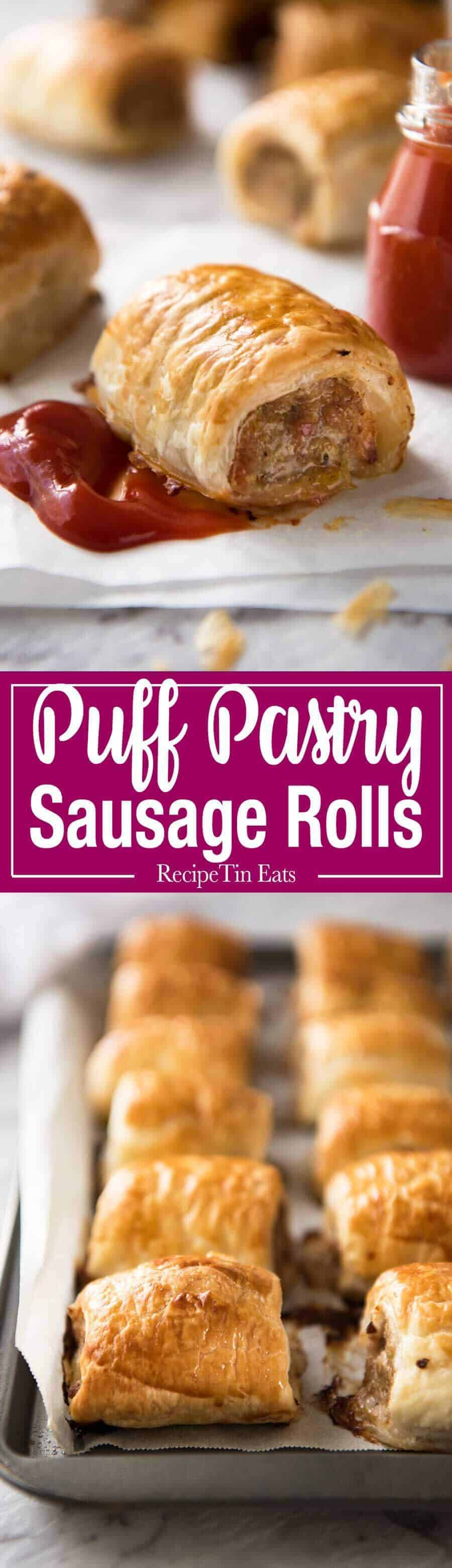 The famous Australian Sausage Rolls! As The New York Times said, they're like Pigs in Blankets, but BETTER!!! Easy to make, a homemade pork mince filling wrapped in puff pastry. recipetineats.com