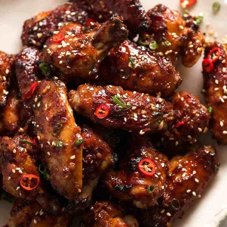 Sticky Chinese Chicken Wings on a plate, ready to be eaten