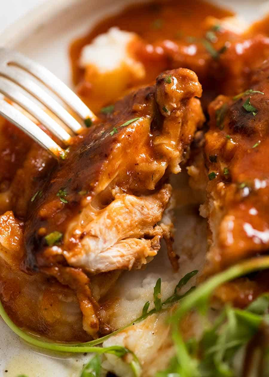 Close up showing the inside of Sticky Chicken