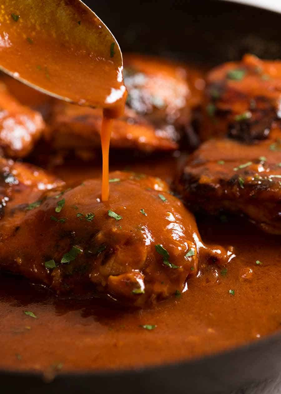 Stick chicken thighs with sauce made from pantry ingredients