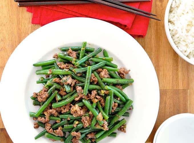 Stir Fried Green Beans with Pork or Beef overhead photo