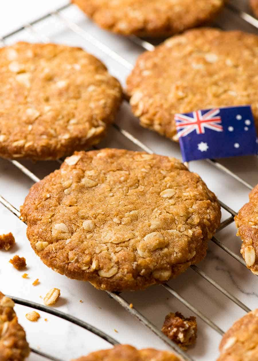 Close up of Australia's favourite biscuit on a cooling rack - Anzac Biscuits