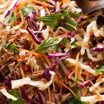 Close up of Asian Slaw with Asian dressing