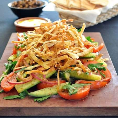 Fattoush With Crunchy Flatbread Ribbons