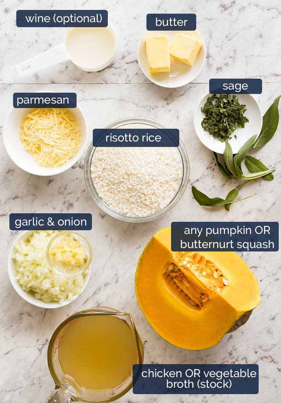 Ingredients in Pumpkin Risotto