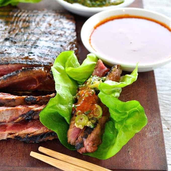 Marinated grilled beef wrapped in lettuce leaves by the famous David Chang of Momofuku is so easy to make. Amazing flavours!