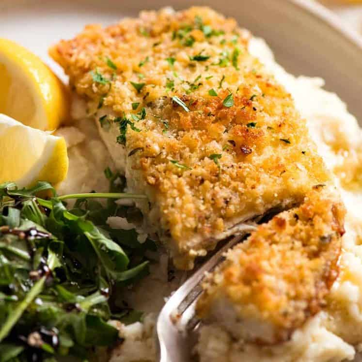 Easy Fish recipe - Parmesan Crumbed Fish served over cauliflower mash