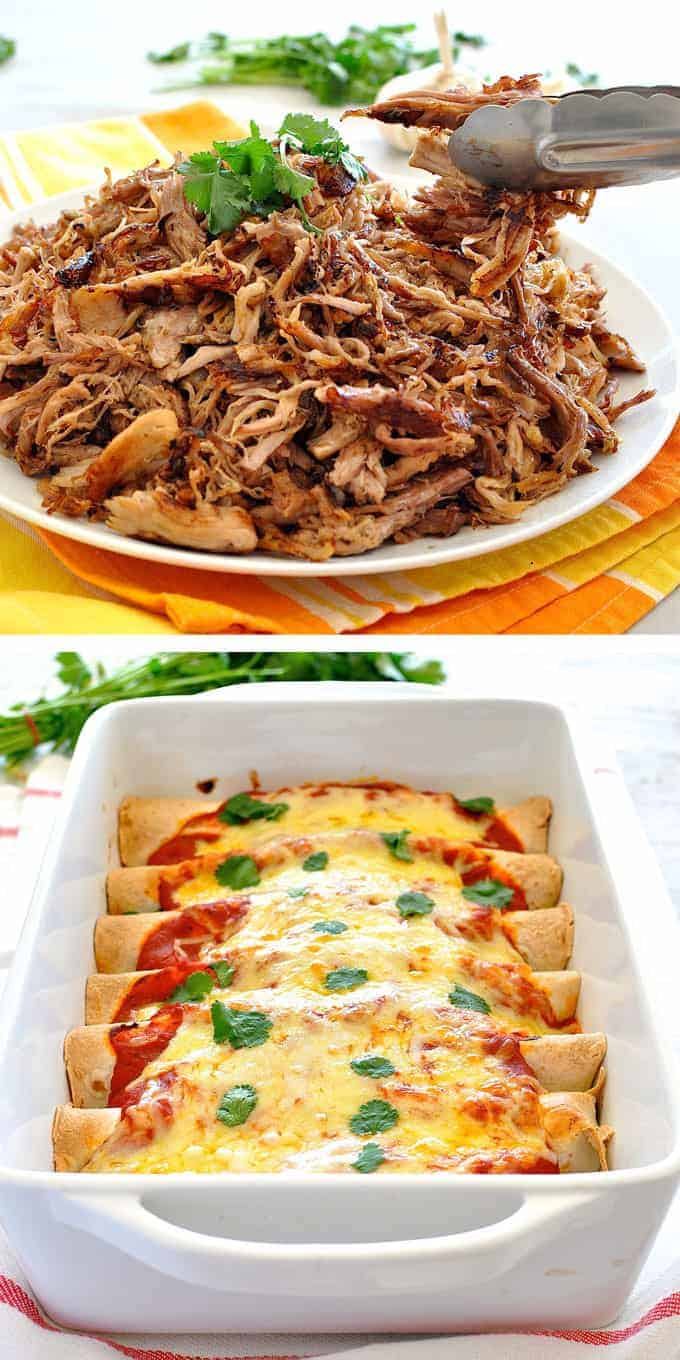 Pulled Pork Enchiladas - Amazing enchiladas stuffed with pork carnitas and topped with a homemade Enchilada Sauce! www.recipetineats.com