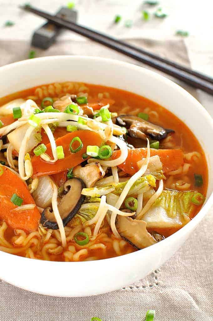 Makeover instant ramen by adding a saucy stir fry topping!