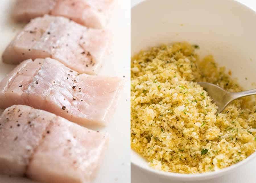 Raw fish and parmesan crumb mixture for easy fish recipe