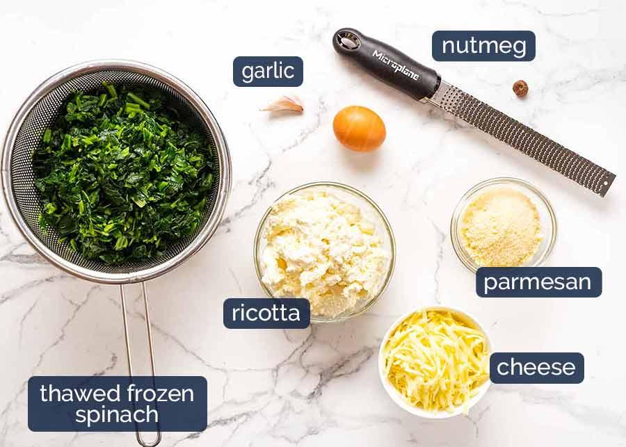 Ingredientes para recheio de espinafre e ricota