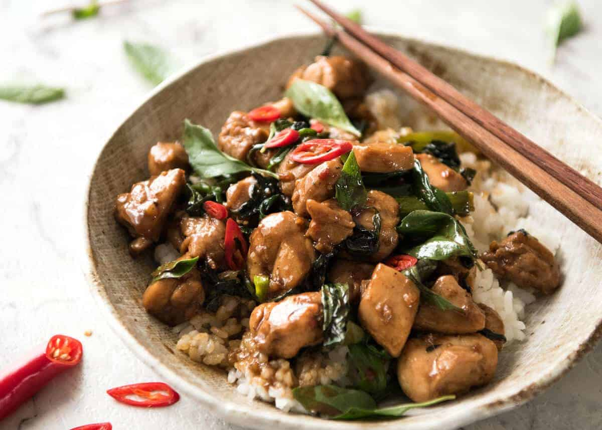 thai chilli basil chicken recipetin eats