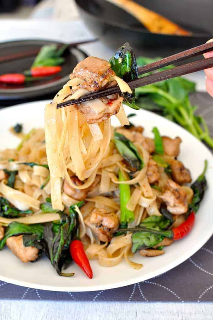 Drunken Noodles (Pad Kee Mao) - Authentic recipe for this popular Thai street food, easy and fast to make! www.recipetineats.com