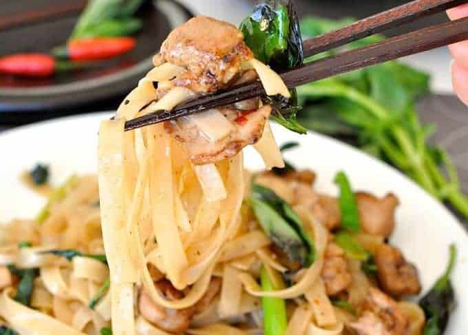 Spicy Thai Noodles (Pad Me Kao) closeup