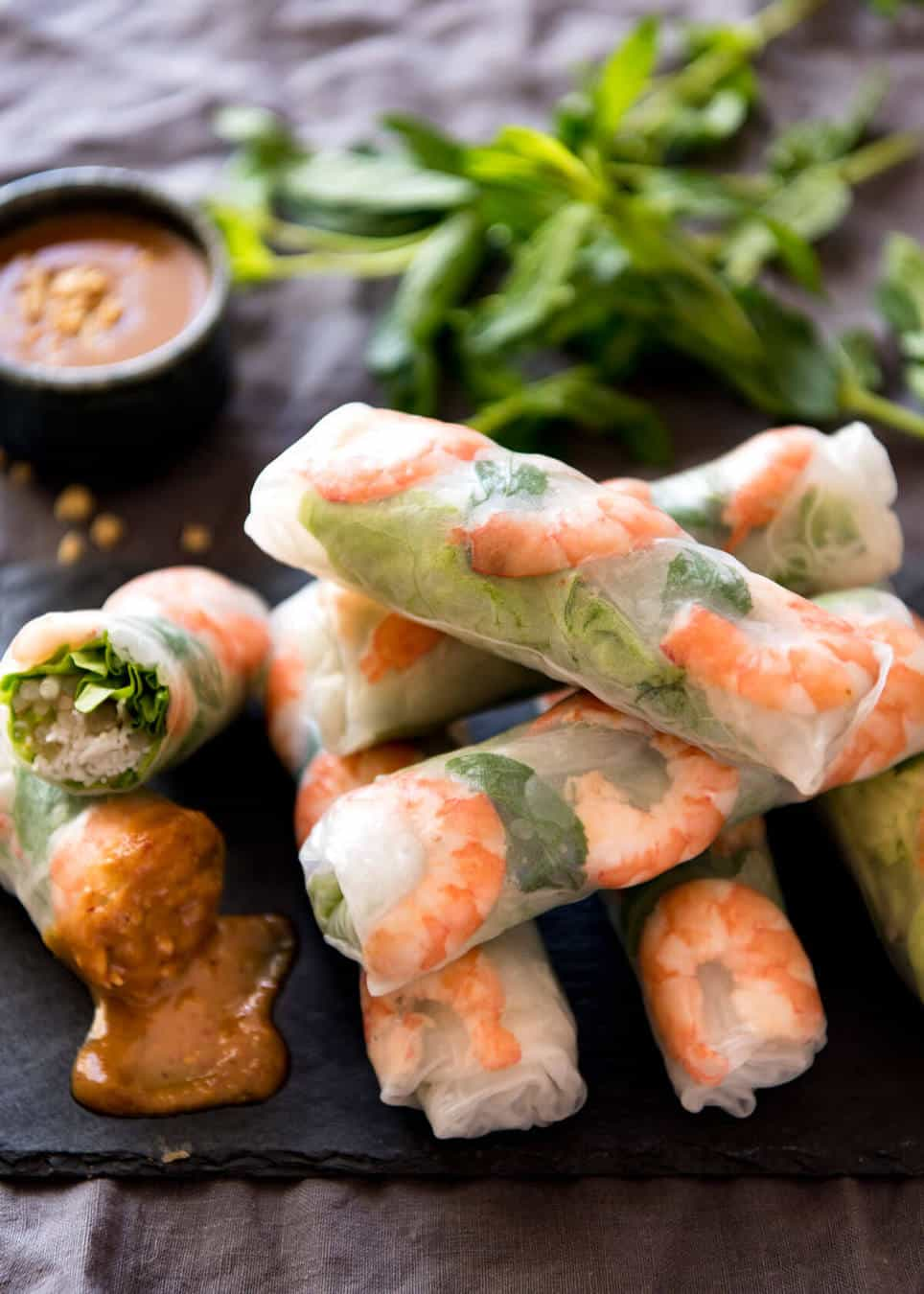 Vegan Rice Paper Rolls with Sriracha & Soy Sauce Tofu and Peanut Sauce