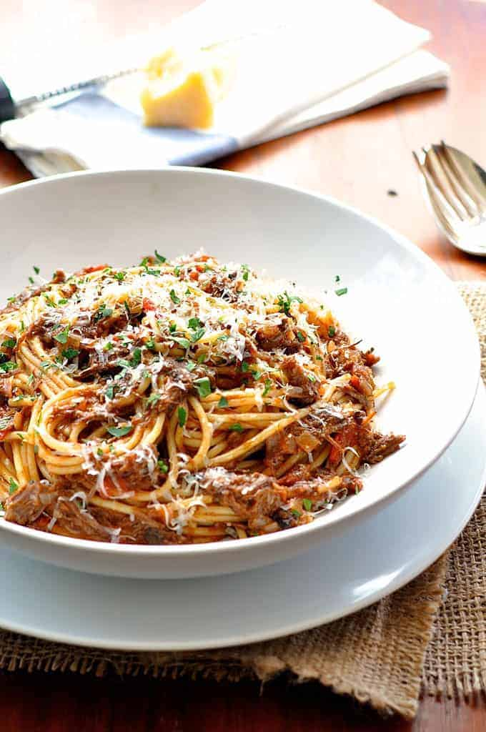 Rich beef ragu made in 15 minutes using leftovers. #ragu #pasta #italian #leftovers