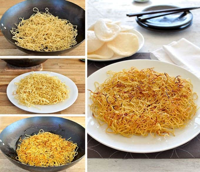 Steps showing the frying of chow mein noodles for Crispy Chinese Noodles with Chicken
